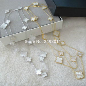 Wholesale women s mother of pearl natural stone big and small flower pendants long necklaces gold color silver color Party jewelry