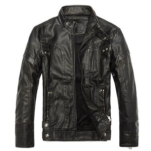 Aismz Brand Fashion Warm Winter Cool Men Standing Collar Plus Size Casual Male PU Leather motorcycle Thicken Jackets Coats on Sale
