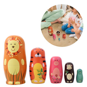 1XSet=5PCS Handmade Cute Wooden Paint Nesting Dolls Babushka Russian Doll Matryoshka Gift Craft Decoration Christmas Gifts 6 Styles