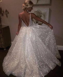 White Sparkle Sequin Evening Dresses Deep V Neck Sexy Low Back Long Prom Dress Cheap Pageant Gowns Special Occasion Wear