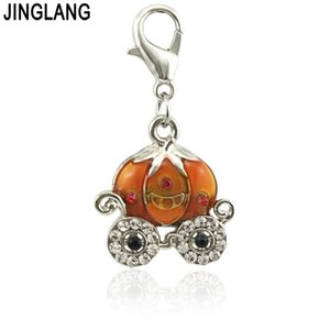 Wholesale JINGLANG Newest Enamel Colorful pumpkin car Floating Charm Fit Living Memory Locket Women Jewelry