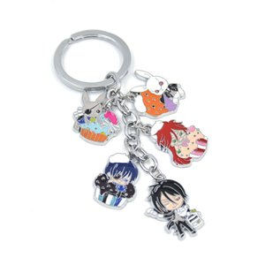 Wholesale Lychee piece Hot Japan Anime Black Butler Kuroshitsuji Ciel Sebastian Grell Key Chain Key Ring Hanging Pendant Jewelry
