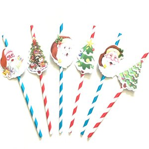 Wholesale Xmas Decoration Christmas Straw For Santa Claus Christmas Tree Paper Card Straw Knitting Prop Party Set HH7