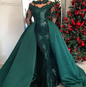Wholesale Custom Made Dark Green Long Sleeves Evening Dresses with Detachable Skirt 2019 Caftan Arabic Lace Applique Prom Dress Party Gowns