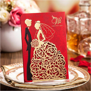 High Class Wedding Invitation Cards 2017 Elegant Laser Cut Gold Red Wedding Party Invitations +Personalized Printing+Envelope