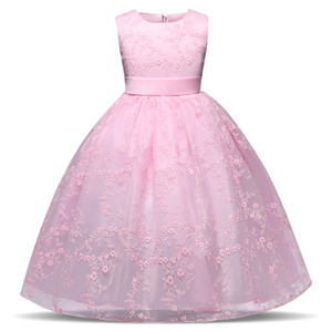 Pink Dress For Children 4-10 Years Teen Girls Birthday Wedding Gowns Tulle Girls Dress Kids Formal Party Costume Prom Dresses Summer 2018