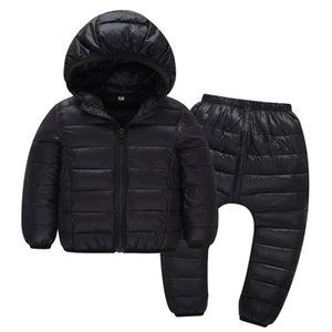Wholesale Children Winter Clothes Sets Pieces Cotton Padded Hooded Jacket Pants Baby Boys Girls Warm Parkas Coat Kids Outerwear