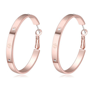 Rose Champagne White Gold Color 100% Austria Crystal Exaggerated Hoop Earrings For Women Fashion Party Jewelry best Christmas gift
