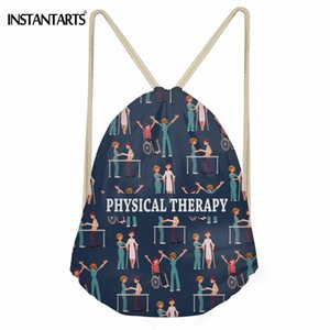 Wholesale INSTANTARTS Physical Therapy Pattern Travel Drawstring Bag Women Daily Shoes Storage Bag Girls Fashion Girls String Backpack