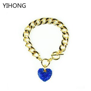 Wholesale Gold Iced Out Heart Toggle Bracelet Big promotion Hot Sale Brand Charm Crystal Rhinestone Ladies Bangle Women Fashion Jewelry