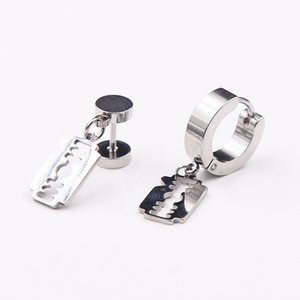 Wholesale 1 Pair Hoop Earring for Men Punk Metal Stainless Steel Blades Sliver Round Earring for Women Hoop Jewelry Gift