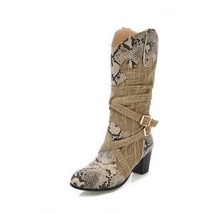 Medium thick and round head snake pattern stitching casual cover with loose feet and warm middle boots