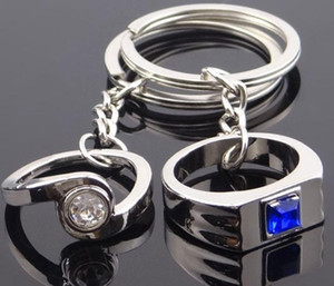 Weeding Gifts Crystal Couple Rings Pendant Keychain Favors Lovers Keychain Alloy Keyrings Fashion Jewelry Accessories for man & women