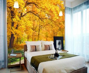 Wholesale 3D Wall Murals Pastoral Style Photo Wallpaper For Living Room Bedroom Hotel Home Office Restaurant Kitchen Maple leaf Wallpaper
