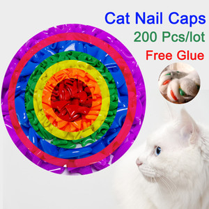 10 Mixture Colours 200 Pcs lot Soft Anti Scratch Dog Cat Nail Caps Cover Control Paw Claws Pet Nail Protector With Free Glue And Alippactor