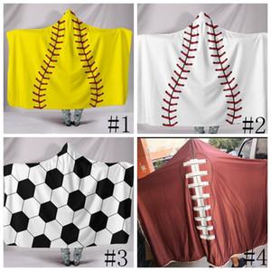 200*150cm Baseball Football blanket Sherpa Softball Blanket Sports Theme Hooded Cape Soccer Bathing Towel Swadding Outdoor Gadgets GGA780