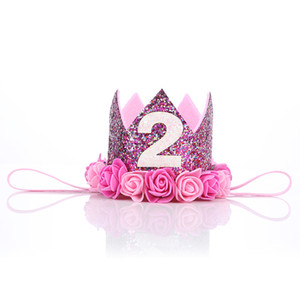 Fashion Personality Simulation Rose Hoop Holiday Party Color Sequins Crown Hoop Factory Wholesale