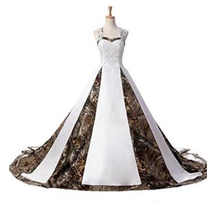 2018 Hot Sale In Stock Camouflage Wedding Dresses Beads Lace Up Camo Wedding Party Dress Bridal Gowns 2-16 Q02