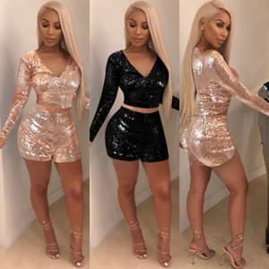 2018 Women Sequin 2 Piece Shorts Set Sparkly V Neck Long Sleeve Back Zipper Crop Top Short Pants Cocktail Party Club Two Piece Pants Outfits