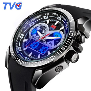 Wholesale man lcd watches for sale - Group buy TVG Top Sports Watches Men Blue LCD Monitor Analog Digital Quartz Watches Men M Waterproof Dive Silicone Watch