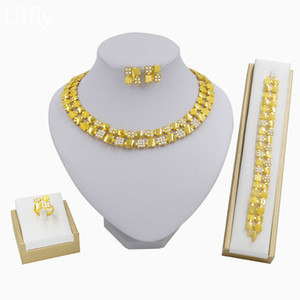 Wholesale Liffly Dubai Gold Jewelry Gold Plate Necklace Fashion Women Circle Ring Earrings Bracelet Bridal Wedding Jewelry Sets