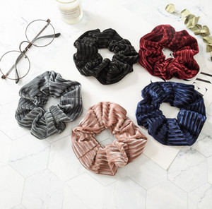 5 Color Women Girls Winter Velvet Cloth Elastic Ring Hair Ties Accessories Ponytail Holder Hairbands Rubber Band Scrunchies