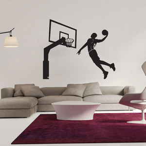 Wholesale basketball decals wall stickers resale online - Hot Modern Design Dunk Basketball Player Wall Decor Vinyl Decal Stickers Removable Art Sticker Home Bedroom Decor