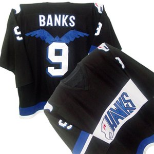 HAWKS ADAM BANKS #9 MIGHTY DUCKS MOVIE Black Hockey Jersey Embroidery Stitched Customize any number and name on Sale