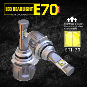 1 Set 9012 HIR2 ETI-70 LENS Chips E70 LED Headlight Car Front Headlamp Bulbs 120W 12000LM Turbo Fan Adjustable Focus Beam White 6000K Bright
