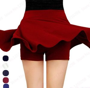 2018 Women Summer Short Skirts High Waist Pleated Sport Skirts Leisure Mini Skirts With Safety Pants Red Blue Black Femininas Saias