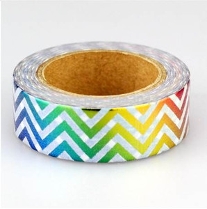 10m Decorative Foil Washi Tape Rainbow Chevron Stripes Heart Kawaii for Scrapbooking Masking Tape Photo Album Adhesive Tapes 2016