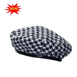 Wholesale New autumn winter Plaid Beret Hats For Women French Berets Fashion Female Houndstooth Berets Black With Adjustable Rope