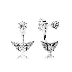 CHAMSS 100% 925 Sterling Silver 296228CZ FAIRYTALE TIARA EARRING STUDS Ear Studs Vintage Original Wedding Jewelry