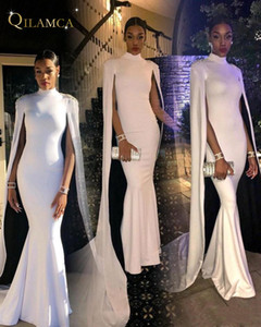 Wholesale 2018 Elegant High Neck Mermaid Evening Dresses White Cape African Formal Evening Prom Gowns Party Dress Celebrity Dress