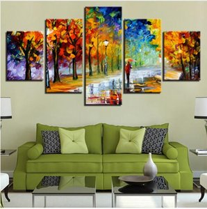 Wholesale Maple Leaves Autumn Street Lamp Painting Canvas Art for Study Living Room Home Wall Decor Modern Canvas Painting HD Print