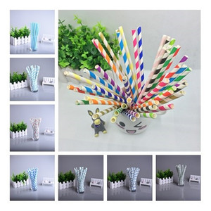 Wholesale 200 Designs Biodegradable paper straw environmental colorful drinking straw wedding kids birthday party decoration supplies dispette