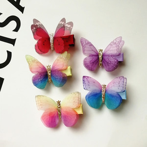 Wholesale 30pc New Glitter Fairy Prince Hair Clip Top Quality Brand Hairpin Girl Kid Hair Clip Barrette Cute cm Butterfly Multicolor
