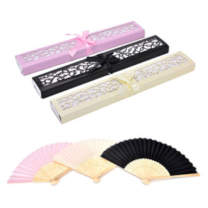 Wholesale Bamboo Silk Fold hand Fan in Elegant Laser Cut Gift Box Party Favors Personalized fan wedding Gifts Colors