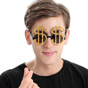 Wholesale Creative Gold Shiny Dollar Costume Glasses Money Party Favors Photobooth Eyewear Props Event Festive Party Supplies Decoration