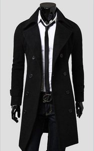Wholesale New Mens Designer Clothing British Style Cashmere Trench Coat Autumn Wool Jacket Windbreaker Men Overcoat Casacos DFBTC001