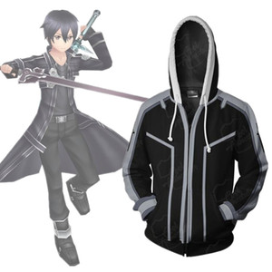 Asian Size Japan Anime Sword Art Online Kirito Cosplay Costume 3D Long Sleeve Zipper Coat Jacket Hoodie