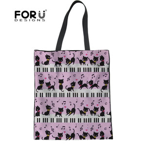 FORUDESIGNS Reusable Women Shopping Bags Cute Cat with Piano Music Note Print Large Casual Canvas Ladies Big Tote Shopper Bags