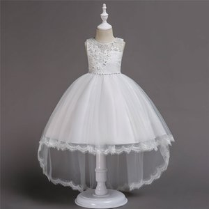 Wholesale Kid Girl Princess Wedding Lace Flower Children Christmas Dress Girls Pearl Petals Ball Gown Prom Dresses for age to years