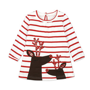 Wholesale Girls Xmas Dresses Princess Dresses Stripe Long Sleeve Baby Skirt Christmas Party Cosplay Costume Santa Claus Elk Printing decorations Gift
