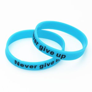 Wholesale 1PC Never Give Up Luminous Silicone Wristbands Blue Glow in Dark Hologram Sport Bracelets Bangles Cuff Gifts Adult Size SH095BL