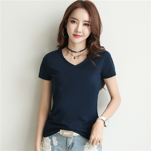 2019 pure cotton, Korean version, bottoming shirt, short sleeved T-shirt, summer women's wear, loose V,2pieces