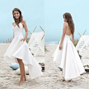Wholesale Summer Beach High Low Wedding Dresses Spaghetti Straps A Line Short Front Long Back Backless White Chiffon Vestidos De Novia