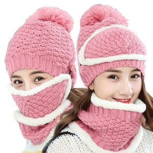 Women Winter Thermal Sets Hat with Mask Muffler Women Knit Wool Beanie Scarf Warm Riding Sets Girls Caps Scarves 3 Pieces WY