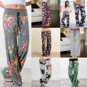 Wholesale maternity long trousers resale online - elastic waist floral wide leg pants loose Elastic Waist pants drawstring Straight Trousers Long pants for women Maternity Bottoms