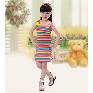 Wholesale Girls Summer Dress Children s Cute Striped Sleeveless Skirt fashion style to choose let baby more wonderful in life v